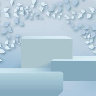 Sfondo astratto con rami e foglie e podio blu. vettore.