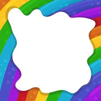 Sfondo astratto con arcobaleni cartone animato e cornice nuvola. illustrazione vettoriale.