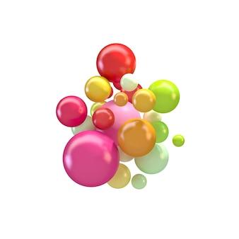 Sfondo astratto con sfere 3d colorate, bolle lucide, palline.