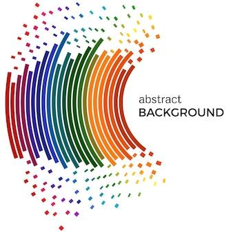 Sfondo astratto con linee colorate arcobaleno e pezzi volanti. cerchi colorati con posto per il testo su uno sfondo bianco.