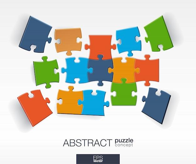 Sfondo astratto con puzzle di colore collegati, elementi integrati. concetto di infografica con pezzi di mosaico in prospettiva. illustrazione interattiva.