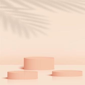 Sfondo astratto con podi 3d geometrici color crema. illustrazione vettoriale.