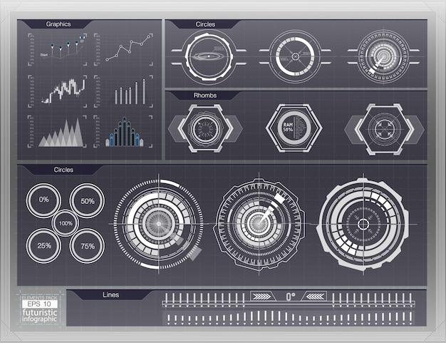 Sfondo astratto con diversi elementi dell'hud. elementi hud, grafico. illustrazione elementi di visualizzazione head-up per elementi infografici.