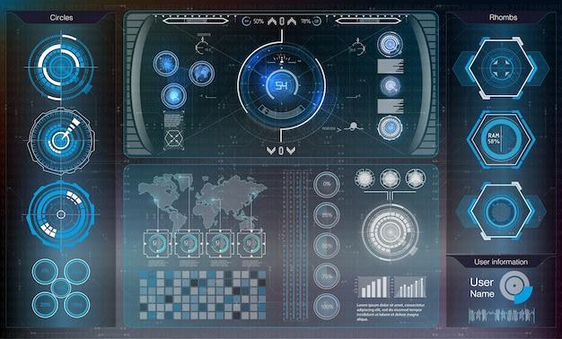 Sfondo astratto con diversi elementi dell'hud. elementi hud, grafico.