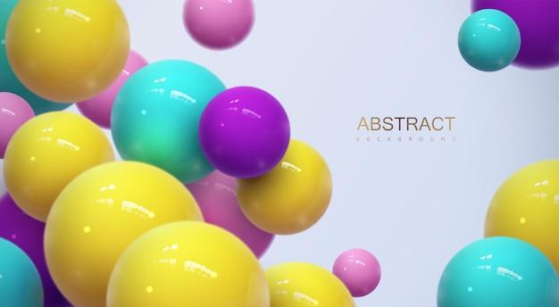 Sfondo astratto con sfere 3d dinamiche