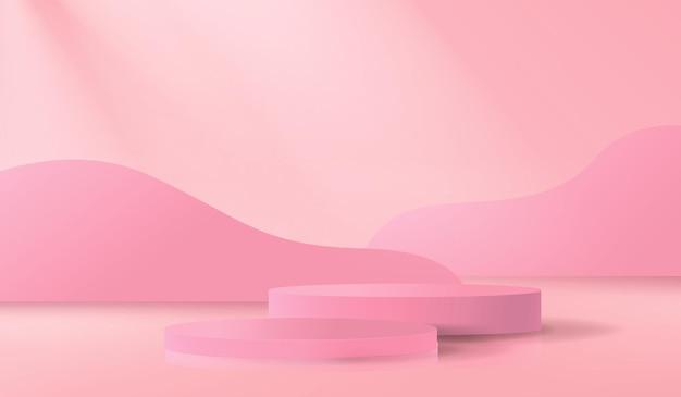 Sfondo astratto con podio vuoto in colore rosa in uno stile minimalista
