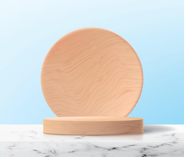 Sfondo astratto con piattaforma di legno vuota sulla superficie di marmo.