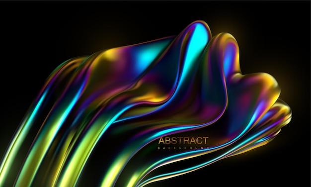 Sfondo astratto con forma ondulata iridescente