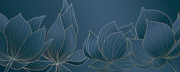 Sfondo astratto con fiori di loto nei toni del blu per la progettazione di banner sui social media.