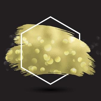 Sfondo astratto con texture oro metallico nella cornice esagonale