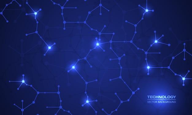 Sfondo astratto con struttura molecolare, dna, rete di neuroni o atomi.