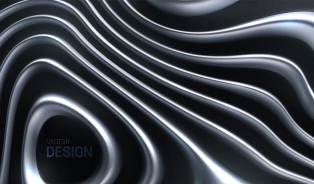Sfondo astratto con strisce d'argento ondulate organiche