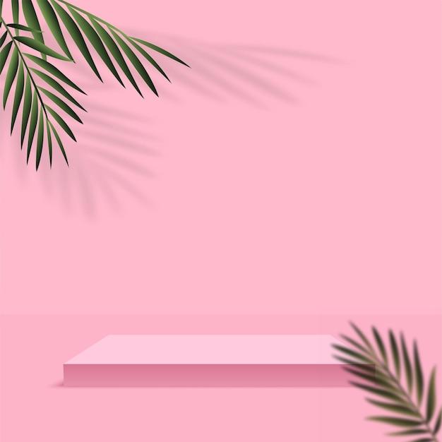 Sfondo astratto con colore rosa, podio geometrico 3d e palma