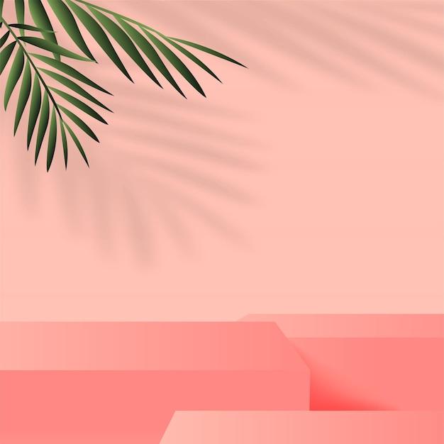 Sfondo astratto con podi 3d geometrici rosa