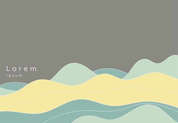 Sfondo astratto con poster onde dinamiche colore organico. stile moderno e minimalista per biglietti, banner, siti web, brochure. illustrazione vettoriale
