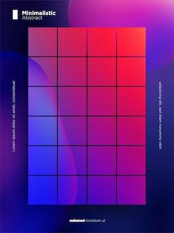Sfondo astratto con sfumature viola e rosse e piatti quadrati e forme di bolle