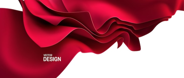 Sfondo astratto con fogli di tessuto in streaming rosso.