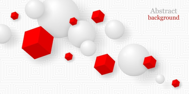 Sfondo astratto con sfere e cubi in stile realistico