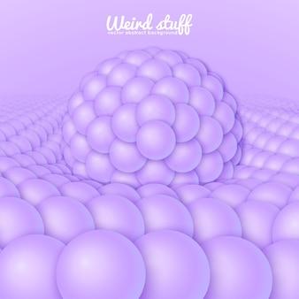 Sfondo astratto con sfere che si abbassano sotto la grande sfera.