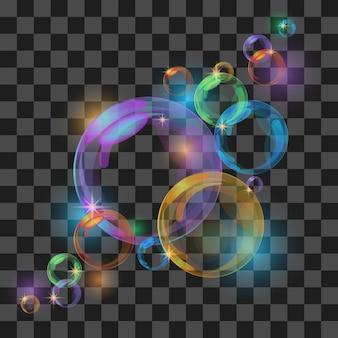 Sfondo astratto con bolle trasparenti. illustrazione vettoriale