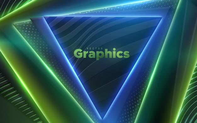 Sfondo astratto con forme geometriche triangolari e luce incandescente al neon multicolore