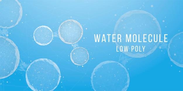 Sfondo astratto con molecole d'acqua. stile wireframe basso poli. scienza, biotecnologia, chimica, concetto medico. illustrazione vettoriale.