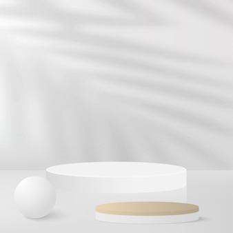 Sfondo astratto con podio 3d geometrico di colore bianco