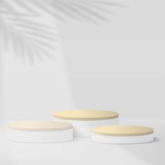 Fondo astratto con i podi geometrici 3d di colore bianco. illustrazione vettoriale