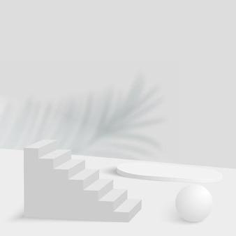 Sfondo astratto con podi 3d geometrici di colore bianco.
