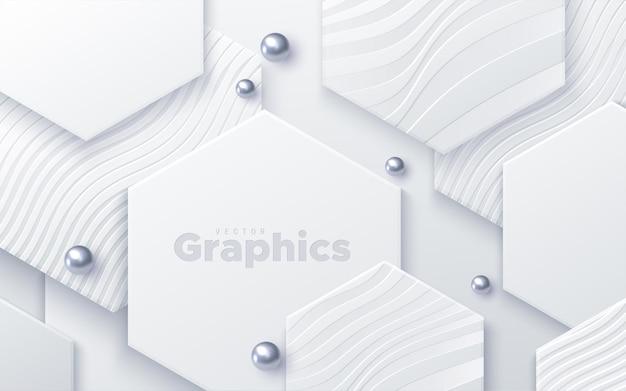 Sfondo astratto con forme esagonali di carta bianca e perle d'argento