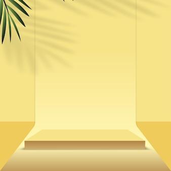 Sfondo astratto con podi 3d geometrici di colore giallo e palma