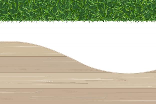 Fondo astratto del modello di legno e della struttura dell'erba verde.