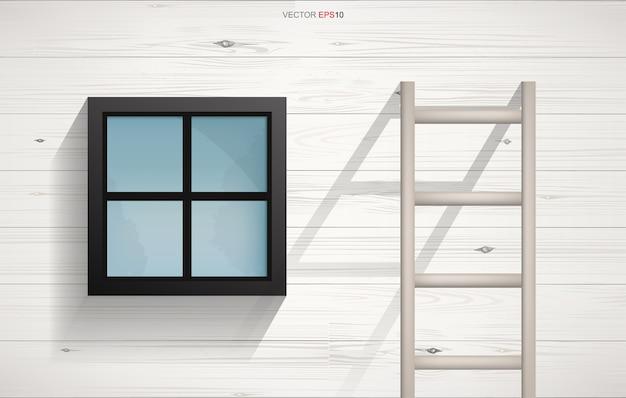 Sfondo astratto della scala in legno e finestra quadrata