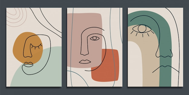 Sfondi astratti con forme minimali e facce line art.