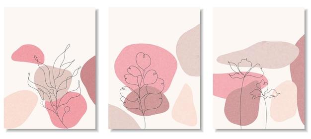 Sfondi astratti con forme minimali e fiori e foglie di line art.