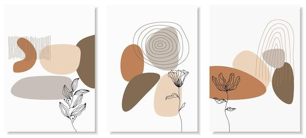 Sfondi astratti con forme minime e fiori e foglie di line art.