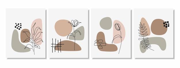 Sfondi astratti con forme minime e foglia d'arte al tratto.