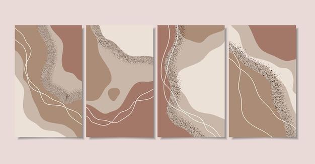 Sfondi astratti con forme minimali e line art
