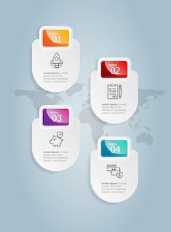Modello astratto dell'elemento di presentazione di infographics verticale del distintivo con il fondo dell'illustrazione di vettore di opzione dell'icona di affari 4