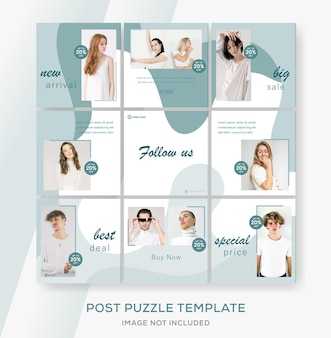 Modello astratto banner per social media instagram feed post puzzle. vendita di moda.
