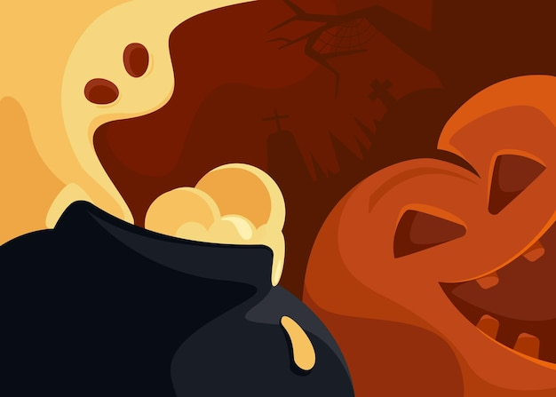 Bandiera astratta con testa di zucca e fantasma. cartolina di halloween in stile cartone animato.