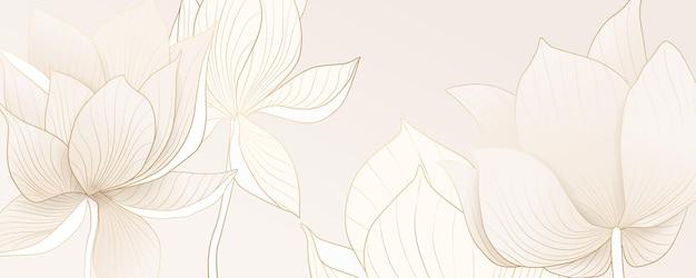Banner astratto con fiori di loto dorati per imballaggi, social network e tessuti