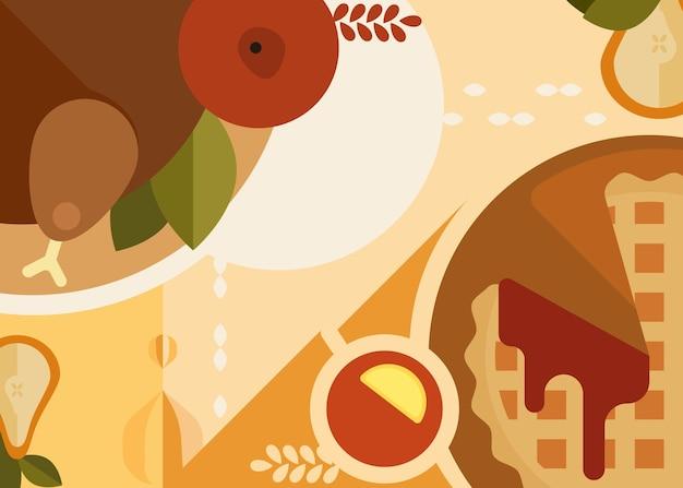 Banner astratto con cena del ringraziamento. design del cartellone per le vacanze in stile piatto.