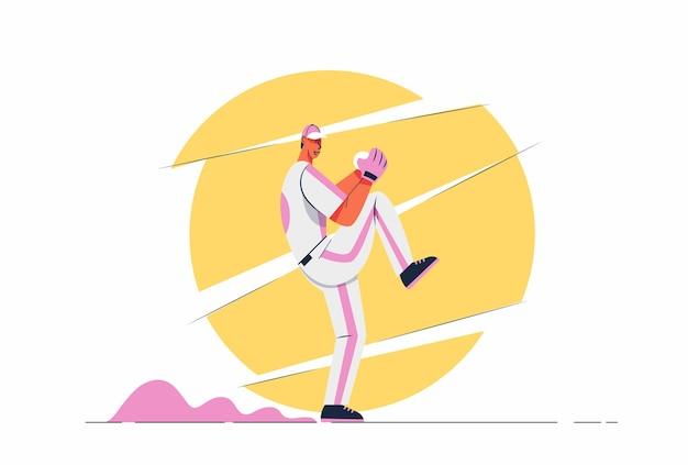 Uomo astratto del giocatore di baseball con la palla che esegue la pastella con la mazza, 3 punti a bordo, illustrazione del personaggio dei cartoni animati