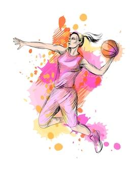 Giocatore di basket astratto con palla da una spruzzata di acquerello, schizzo disegnato a mano. illustrazione di vernici