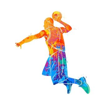 Giocatore di basket astratto con palla da schizzi di acquerelli.