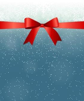 Astratto bellezza natale e capodanno con neve, fiocchi di neve, fiocco rosso e nastro. illustrazione