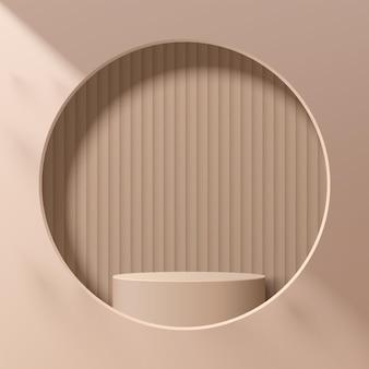 Piedistallo beige astratto del cilindro 3d o podio del supporto nella finestra del cerchio sulla parete scena minimale moderna marrone chiaro per la presentazione dell'esposizione di prodotti cosmetici. progettazione della piattaforma di rendering geometrico vettoriale