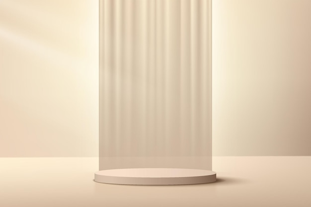 Podio piedistallo cilindro 3d beige crema astratto con sfondo tende di lusso verticali