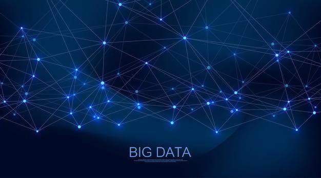 Priorità bassa di concetto di connessione di rete digitale visualizzazione big data astratta. intelligenza artificiale e tecnologia ingegneristica. rete globale, plesso di linee, array minimo. illustrazione vettoriale.